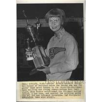 1951 Press Photo Swimming record holder, Pat Becker, displays her trophies