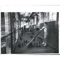 1961 Press Photo Men Working Out at McVeigh Gymnasium in Fort Lewis, Washington