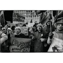 1991 Press Photo Lithuania Protest Daley Center Plaza - RRX62249