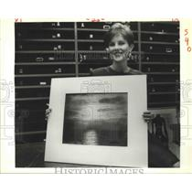 "1988 Press Photo Nancy Barrett Holds ""Sea & Sky,"" Gustave Le Gray"