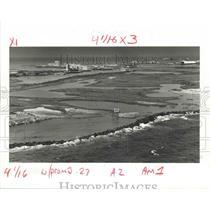 1986 Press Photo The Rock Seawall Along Coastline of East Timbalier Island