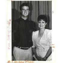 1992 Press Photo Tommy Barnhard and Annette Bullinger-Whiteny at Saints Lunch