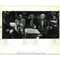 1991 Press Photo Mayor Sidney Barthelemy, Heads of Zulu at City Council Meeting