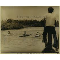 1988 Press Photo Bayou Liberty Pirogue Race Participants