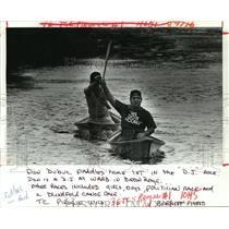 1987 Press Photo Don Dubuc Leads Bayou Liberty Pirogue Race