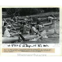 1990 Press Photo Race Start at Bayou Liberty Pirogue Races, Slidell, Louisiana
