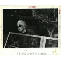 1988 Press Photo Martha Brown in Boat on Bayou Liberty, Slidell, Louisiana