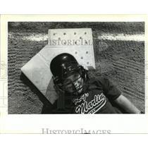1995 Press Photo Jonathan Dufrene, Little League Baseball Player in New Helmet