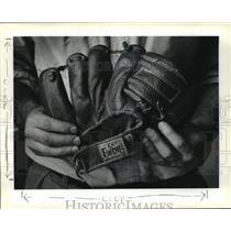 1991 Press Photo Jim Kleinpeter and First Baseball Glove