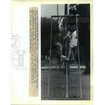 1988 Press Photo Children Playing on Jungle Gym at Bayou Liberty Civic Club