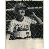 1975 Press Photo Boy Holding the Baseball Bat for Carrolton Baseball Team
