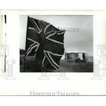 1990 Press Photo Chalmette Battlefield - Flag for Battle of New Orleans Event