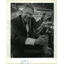 1989 Press Photo Beau Bassich on City Park Carousel, New Orleans, Louisiana