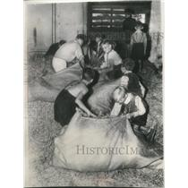 1952 Press Photo Young refugees fill sacks with straw in Berlin - mjb22505