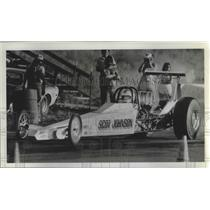 1984 Press Photo Scot Johnson sitting in his drag race car awaiting race