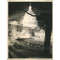 1936 Press Photo United States Capitol Emerges Serene from Heavy Snowfall