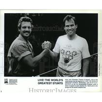 1990 Press Photo Actor John Schneider shows support to skydiver BJ Worth