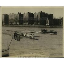 1926 Press Photo Harvard University Varsity Crew Practice Rowing Charles River
