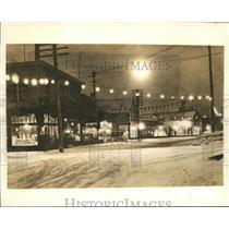 1941 Press Photo Street Lights Burn in Stores All-Day in Fairbanks, Alaska