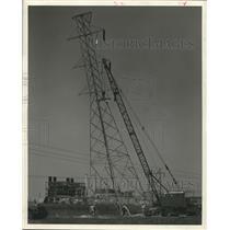 1959 Press Photo Erecting a power line tower, Houston Lighting & Power Co.