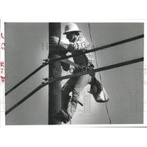 1981 Press Photo Lineman Dave Ballew installing lines- Houston Lighting & Power