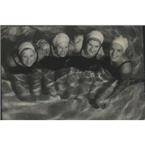 1954 Press Photo Relay team of Seattle to swim in National Indoor swimming meet