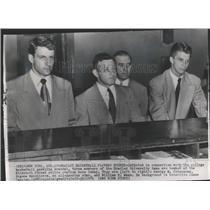 1951 Press Photo 3 Bradley basketball players seen at New York police station