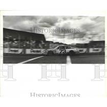 1987 Press Photo A stock car rumbles across the Spokane Grand Prix finish line