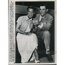 1950 Press Photo Tiger pitcher Art Houtteman & fiancee Shelagh Marie Kelly