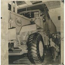 1956 Press Photo National Auto Show big Mack truck tire - RRW34223
