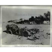 1941 Press Photo Desert at Solum Battlefield with Blazing & Wrecked Vehicles