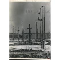 1968 Press Photo Pipe Forest at the Three Fountains apartment project - Houston
