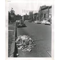 1956 Press Photo Street Sweeper Makes Mess - RRW38589