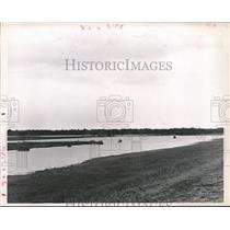 1960 Press Photo Lake of Water Trapped Behind Barker Dam, Houston - hca07319