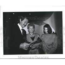 1989 Press Photo Gymnastics Coach Bela Karoyli & Others Admire Citizenship Cert.