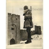 1940 Press Photo Swedish Coast Artilleryman Outside The Ancient Capital Of Visby