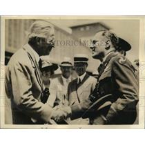1938 Press Photo Alexander Weddell Congratulating Comm. Robert Olds on Flight