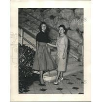 1958 Press Photo Melba Bourgeois of 2417 Robert at Foot of Stairs with Friend