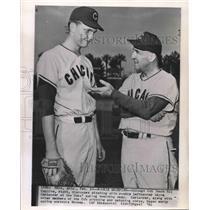 1961 Press Photo Baseball - Chicago Cubs Coach Rip Collins with Wayne Carlander