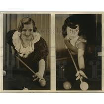 1935 Press Photo Hilda Stowell & Ruth Harvey Women National Amateur Billards