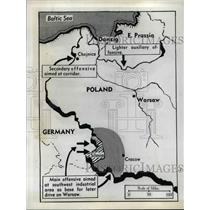 1939 Press Photo Map of German Attack on Three Polish Fronts in World War II