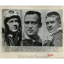 1951 Press Photo United States Fifth Air Force fighter pilots shot Russian jets