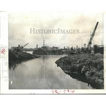 1958 Press Photo Large Cranes Frame Skyline, Brays Bayou Ship Channel Houston