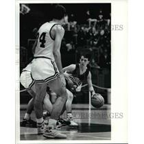 1991 Press Photo No. 12 Brent Schremp of Brookside moves the ball up
