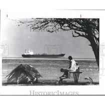1990 Press Photo Campers at Fort Travis Park on Bolivar Peninsula, Texas