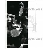 1990 Press Photo Elyria Filiaggi spikes the ball during the third game