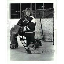 1987 Press Photo Tammy Belaga, Elyria High varsity goalie at the Elyria Hockey