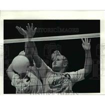 1991 Press Photo Amy Plas spikes the ball in a scrimmage against Elyria West