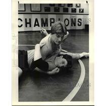 1984 Press Photo St. Ed's Wrestling, Top Dave Carlin, Bottom Kevin Biggs