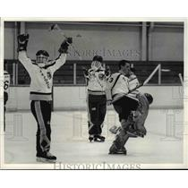 1985 Press Photo Goalie, Greg Nowak, does victory dance after win at Baron Cup